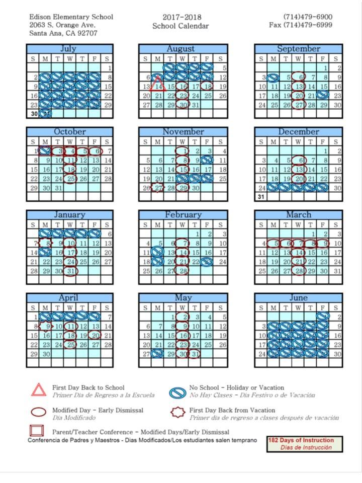 please take a look at our traditional school calendar 2017 2018