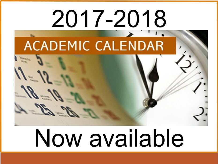 2017-18 Academic Calendar Now Available