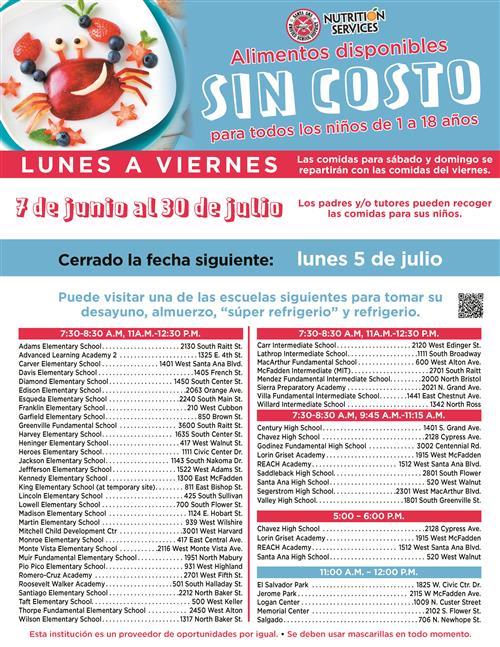 Spanish language schedule