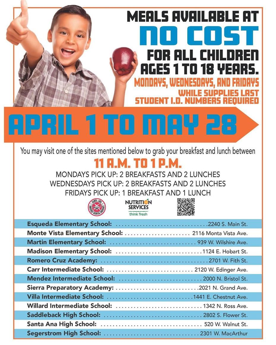 SAUSD Offers Free Meals to Children Ages 1-18