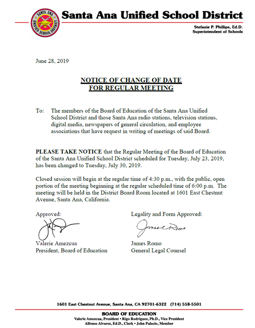 Notice of Change of Date for Regular Board Meeting