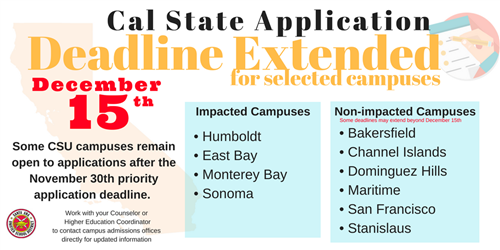 Deadlines for CSU applications extended to December 15, 2017