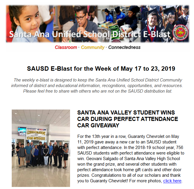 Newsletter: SAUSD E-Blast for the Week of May 17-23, 2019