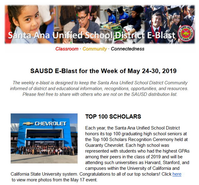 Newsletter: SAUSD E-Blast for the Week of May 24-30, 2019