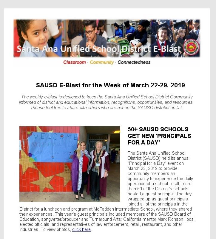 Newsletter: SAUSD E-Blast for the Week of March 22-29, 2019