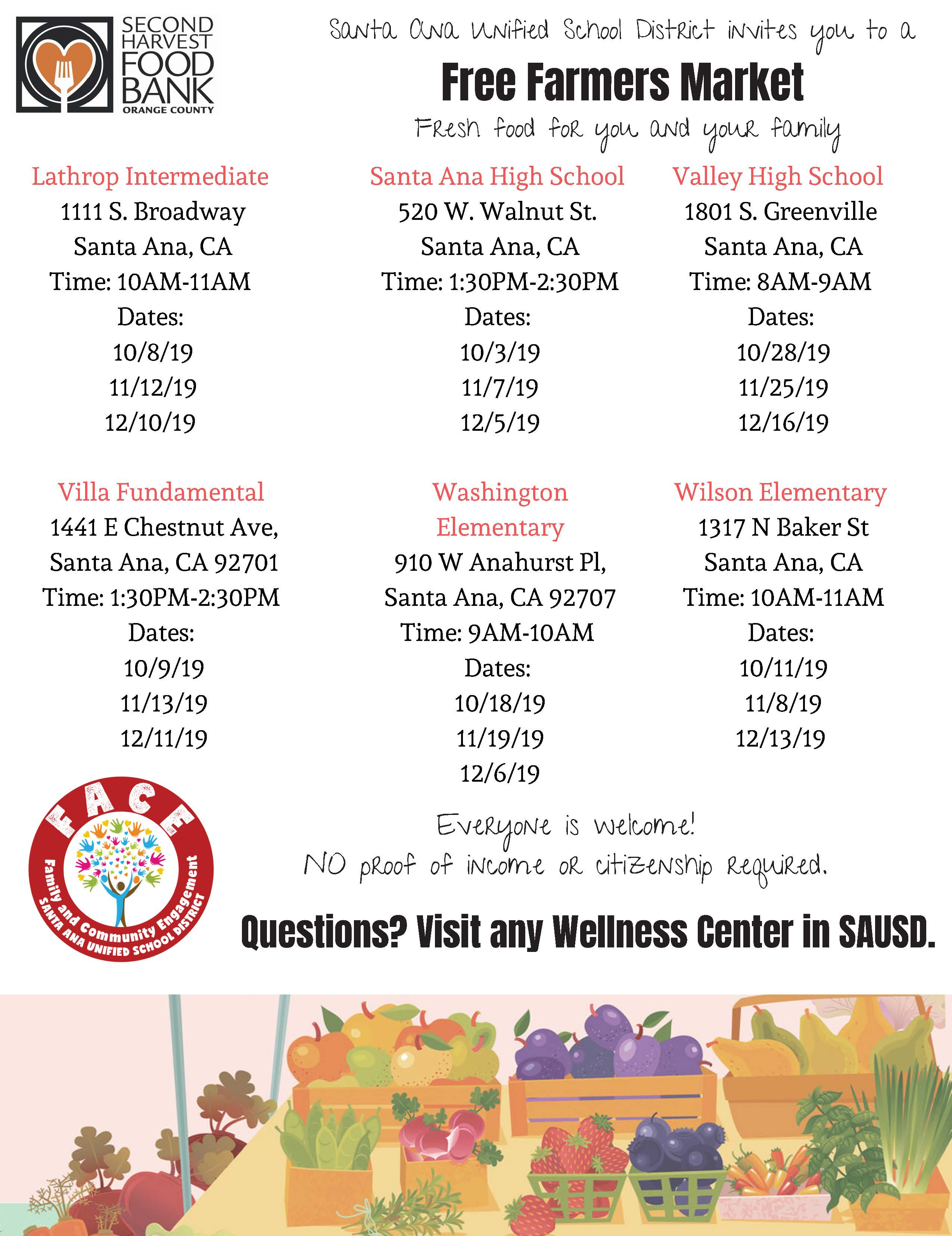 Free Farmers Markets at SAUSD Schools