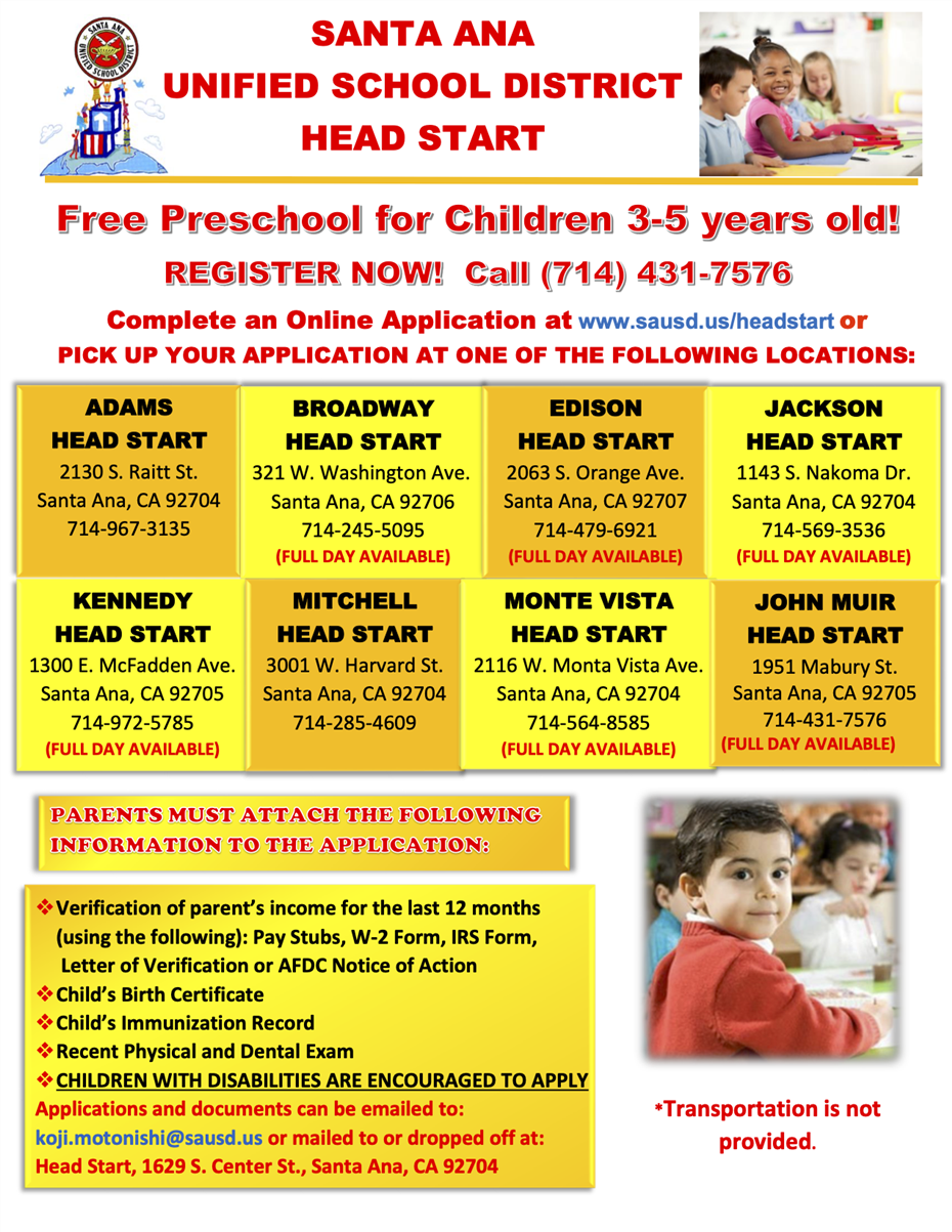SAUSD Head Start Program Now Enrolling!
