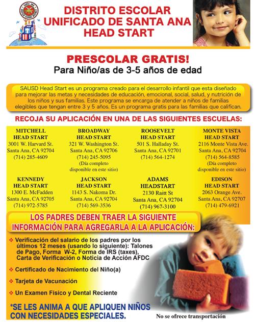 SAUSD Head Start Program Now Enrolling!