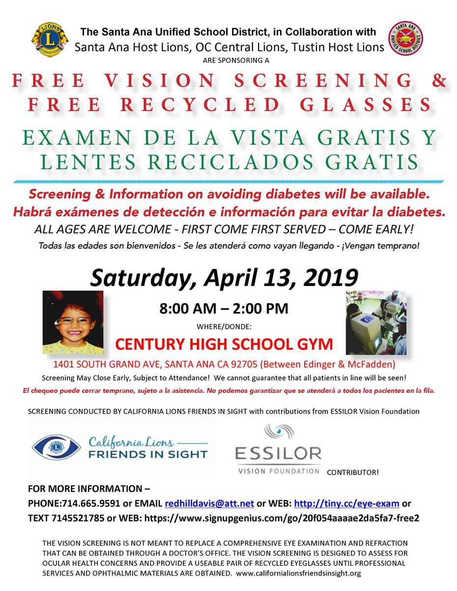 Free vision screenings