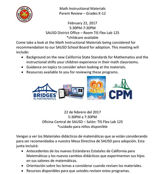 Parents Invited To View Math Instructional Materials For Grades K 12