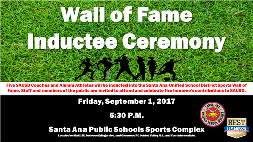 SAUSD to Add Five Inductees to its Wall of Fame on Friday