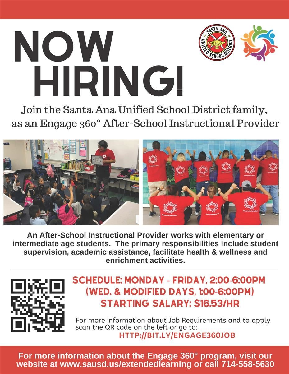Now Hiring After-School Instructional Support Providers