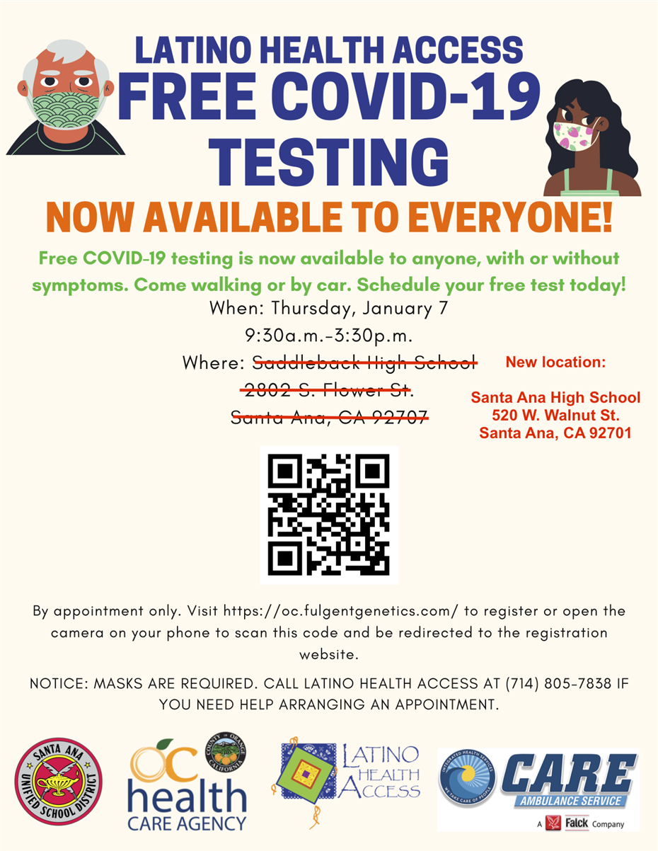 Jan. 7, 2021:  Free COVID-19 Testing Opportunity at Santa Ana H.S. (Note: This clinic was originally scheduled to take place at Saddleback H.S.)