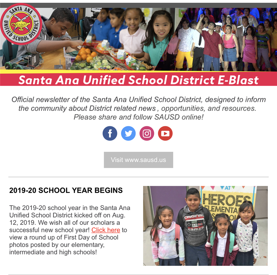 Newsletter: SAUSD E-Blast for the Week of August 16-22, 2019