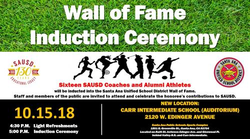 SAUSD to Add Sixteen Inductees to its Wall of Fame on Monday, October 15 (Please note change in location)