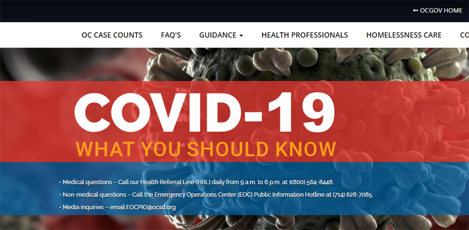 Visit OC Health Care Agency COVID-19 Webpage for Case Counts, Hotline Numbers, Resources and More