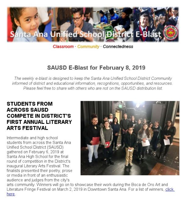 SAUSD E-Blast, February 8, 2019 Edition