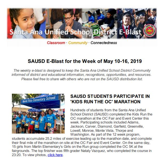 SAUSD E-Blast for the Week of May 10-16, 2019