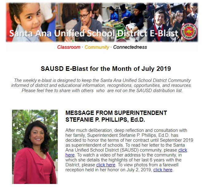 SAUSD E-Blast Newsletter Archive