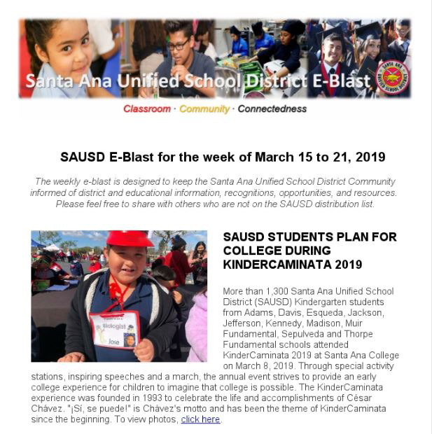Newsletter: SAUSD E-Blast for the Week of March 15-21, 2019