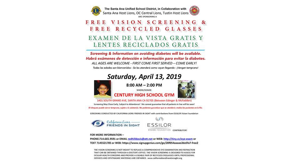 Free Vision Screening & Recycled Glasses