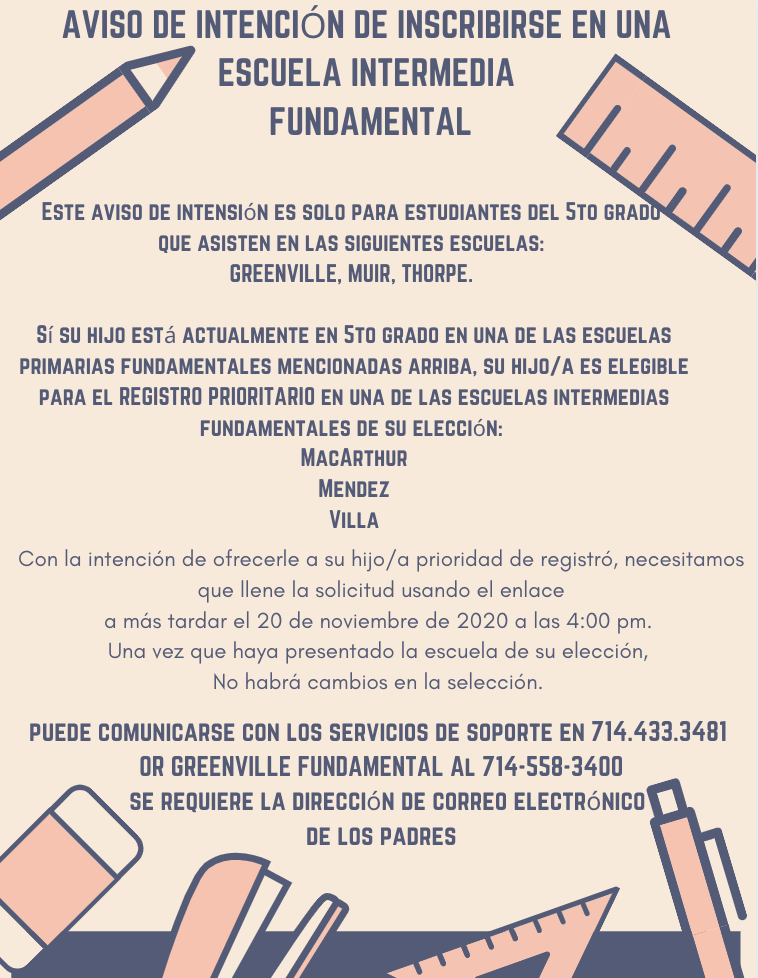 Spanish - Notice of Intent to Enroll in a Fundamental Intermediate School