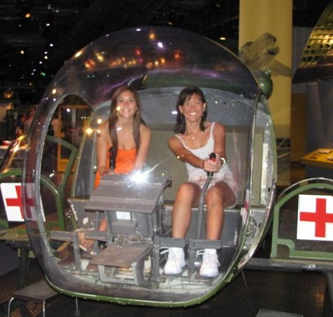 Kiersten and Mrs. Irwin inside a hospital helicopter