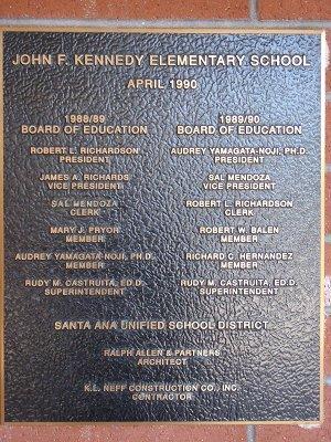 John F. Kennedy Plaque