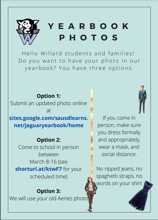 Submit photos here:  https://sites.google.com/sausdlearns.net/jaguaryearbook/home