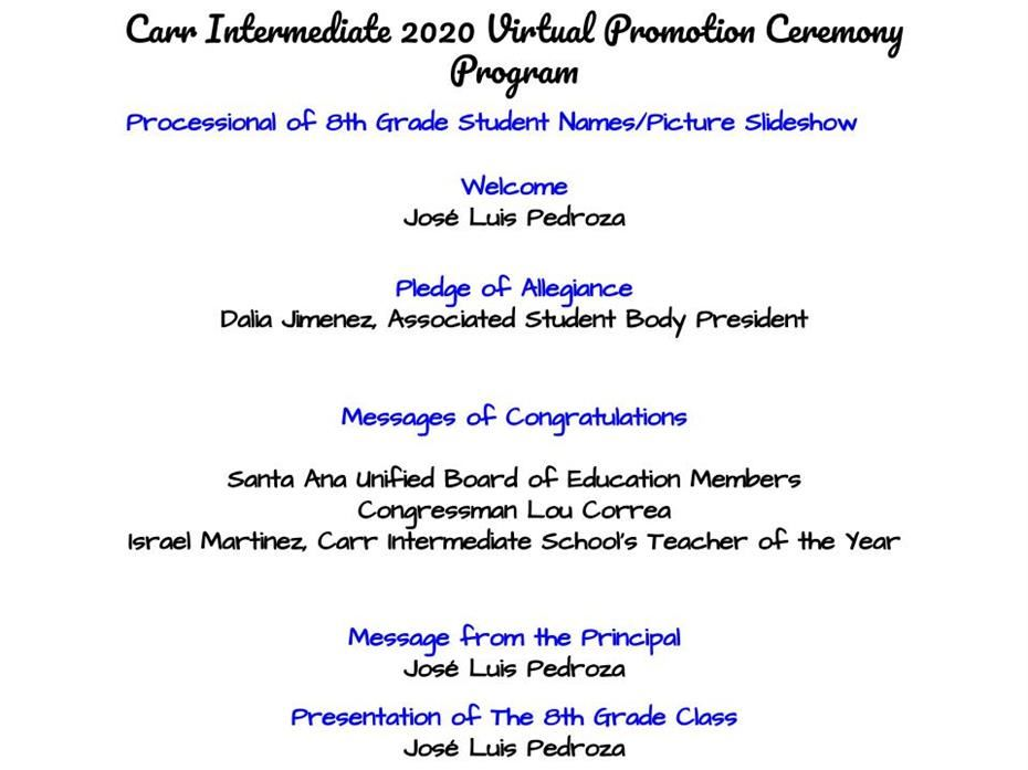 8th Grade Virtual Promotion 2020