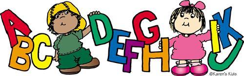 Kindergarten students with big letters