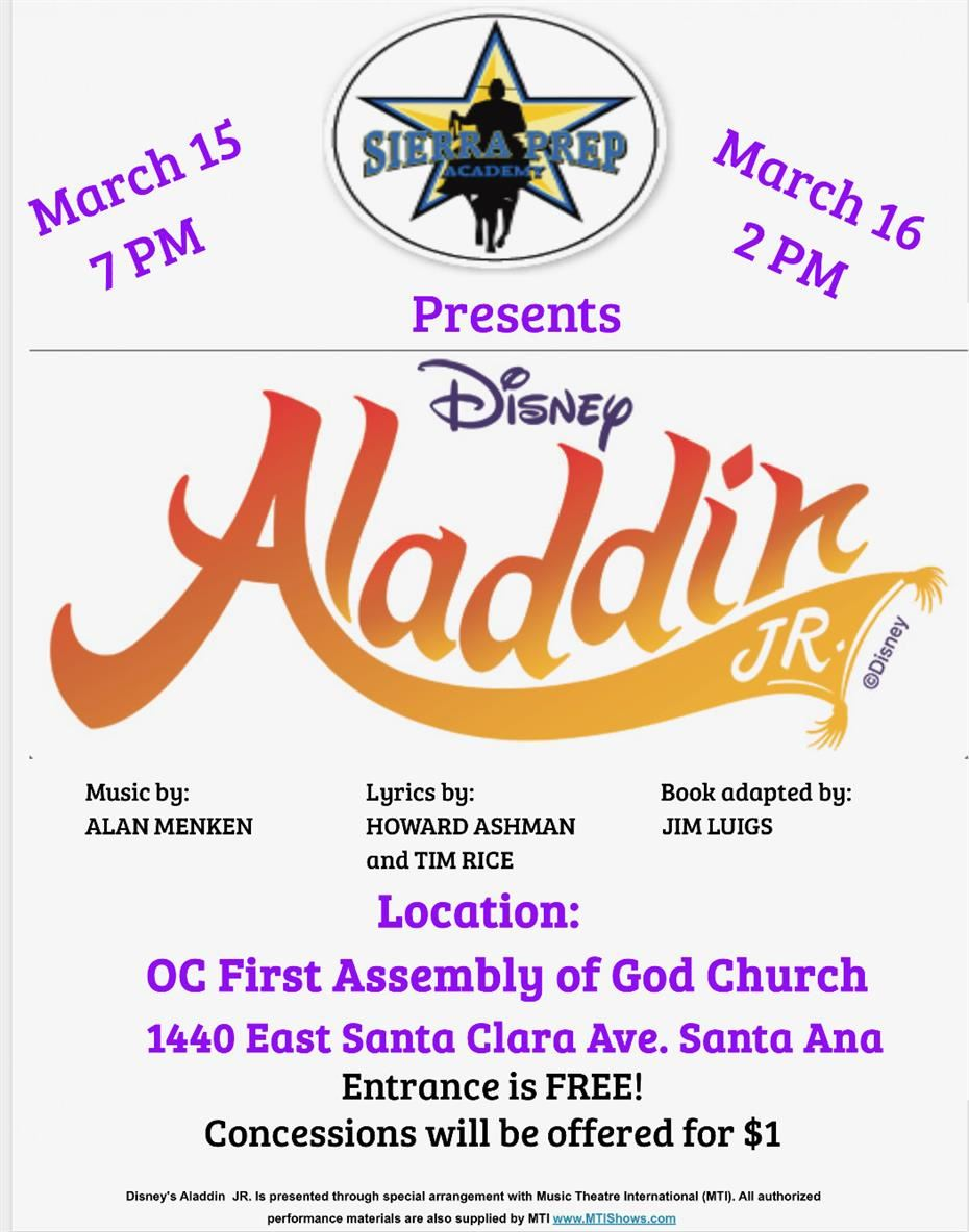 Aladdin Jr. Spring Musical - THIS WEEKEND!