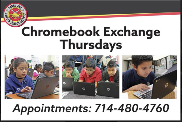 "SAUSD Launching ""Chromebooks Exchange Thursdays"",  a Weekly Opportunity for SAUSD Students to  Exchange or Repair Chromebooks that are Not  Working Properly."