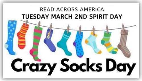 "Read Across America Day 2 -Tuesday's Spirit Day is wear Crazy Fun Socks inspired by ""The Fox in Socks"" Book"