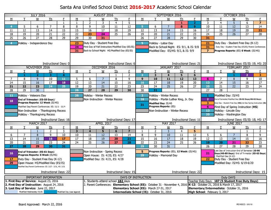 2016-2017, 2017-2018 Santa Ana Unified School Calendar