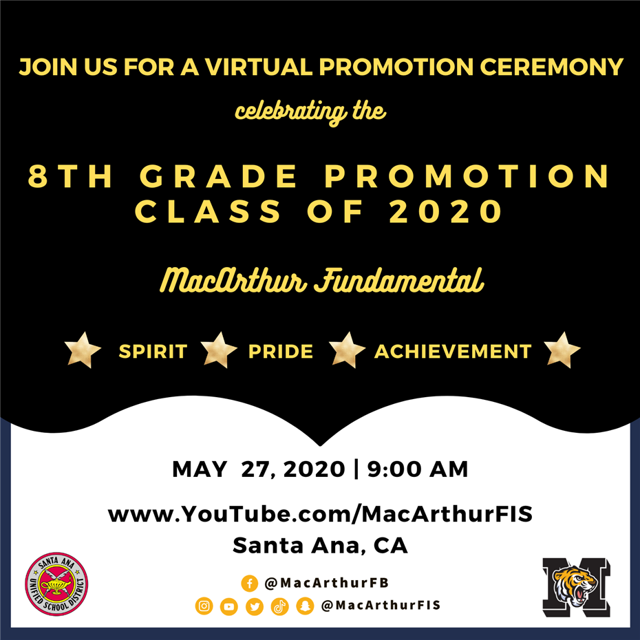 8th Grade Virtual Promotion - May 27th at 9:00am