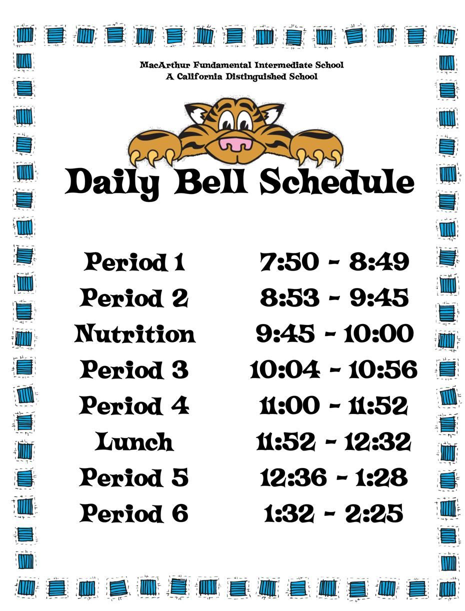 bell schedules daily bell schedule