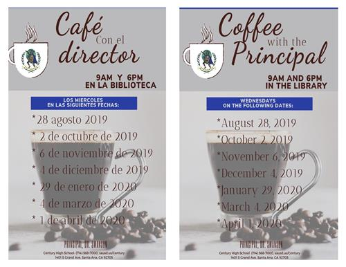 Coffee with the Principal dates flyer