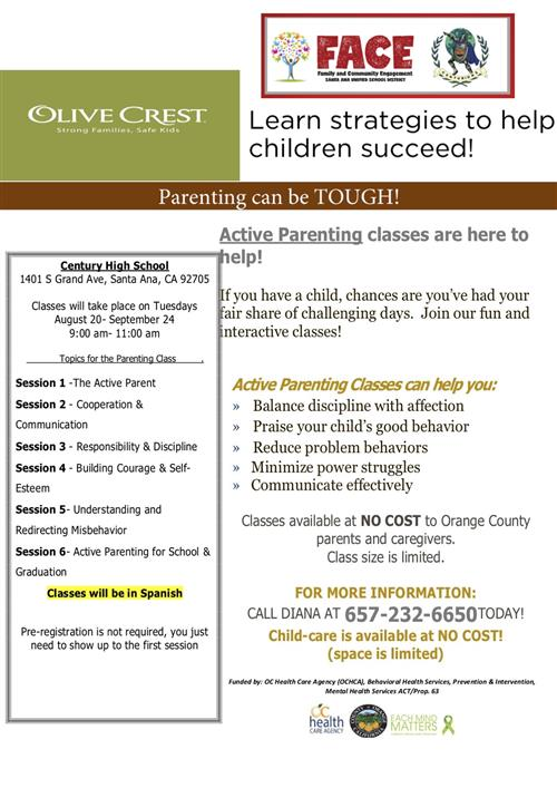 Morning Parenting class  - Every Tuesday starting  August 2oth - September 24, 9am to 11am