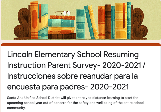 Lincoln Elementary School Resuming Instruction Survey