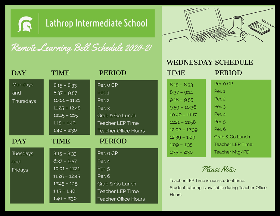 Remote Learning Bell Schedule to Begin on Monday, August 17