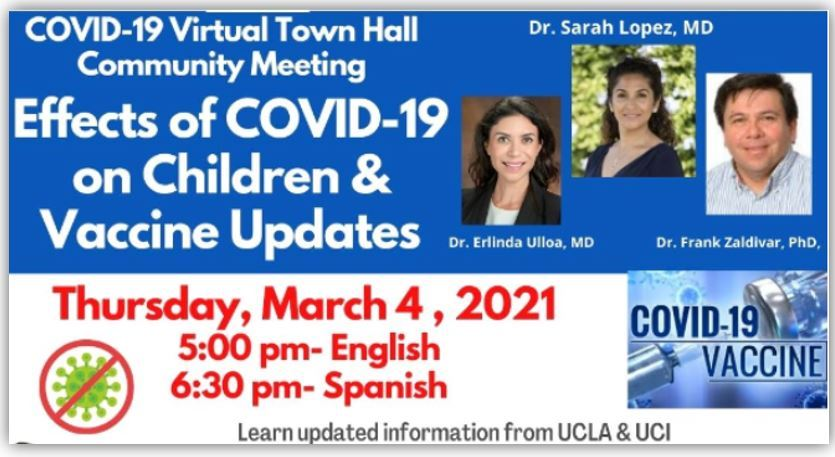 A Virtual Town Hall on the COVID-19 Vaccine, Thursday, March 4th, 2021-  English @ 5:00 pm and Spanish @ 6:30 pm