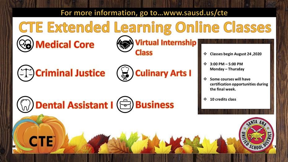 CTE Fall Extended Learning Courses
