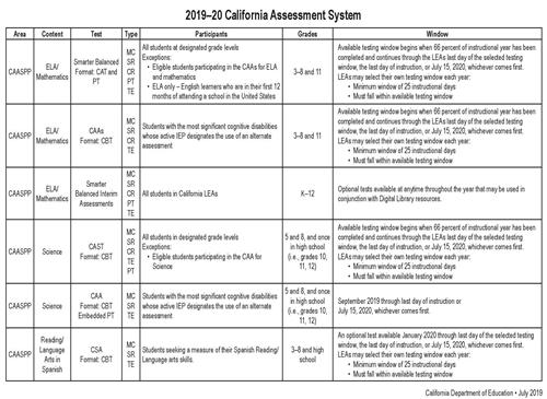 2019-20 CA Assessment System