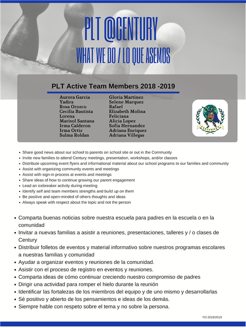 Parent Leadership Team Flyer and what we do