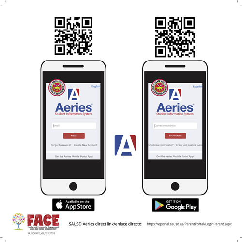 Aeries Direct Link and  QR codes for iOS and Android
