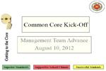 Common Core Management Team Kick-Off