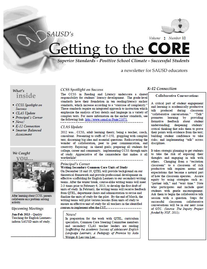 CORE Newsletter December 17, 2012