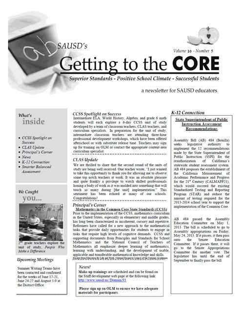 CORE Newsletter, May 28, 2013