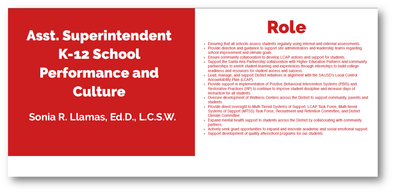Asst. Superintendent K-12 School Performance & Culture - Role